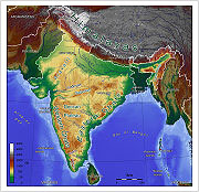 Topographic map of India.